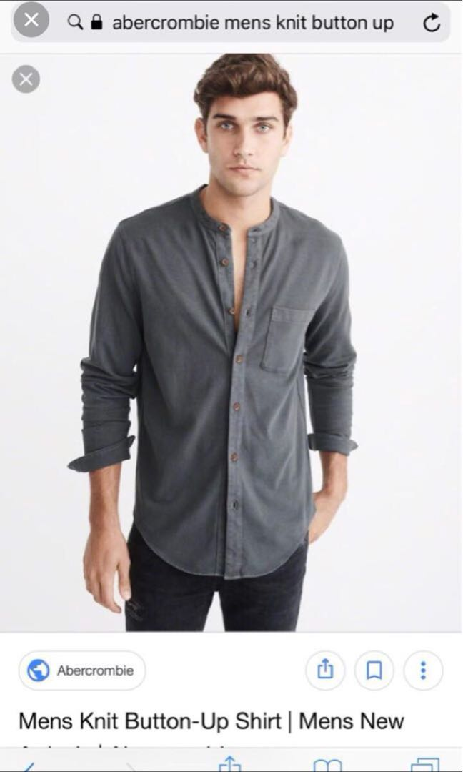 869796445160 Abercrombie and Fitch grey mandarin collar shirt, Men's Fashion ...