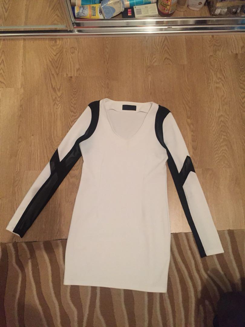 Arrogant Cat mini white dress black mesh size 12 Large