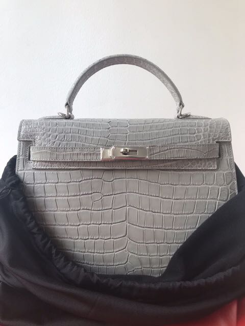 Authentic Porosus Crocodile Leather Bag - Hermes Kelly Inspired ... d7cf9777f