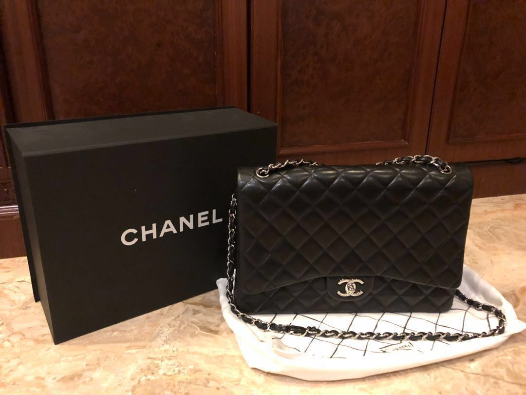422cda08946c Authentic Preloved Chanel classic double flap black lambskin in SHW ...