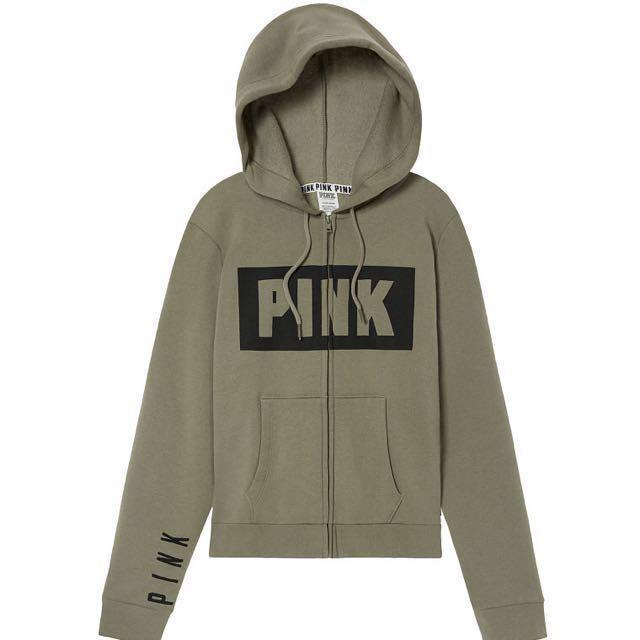 3980e5e6dfe Authentic VS hoodie jacket full-zip in army green , Women's Fashion ...
