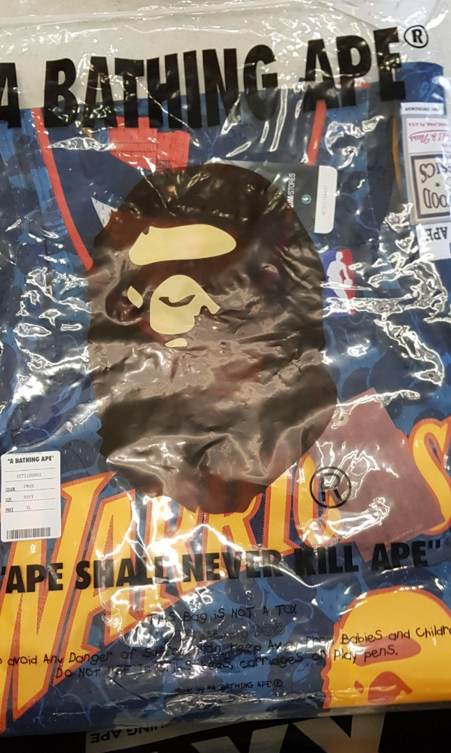 0a02070e28 BAPE x MITCHELL   NESS NBA WARRIORS JERSEY (SIZE XL)
