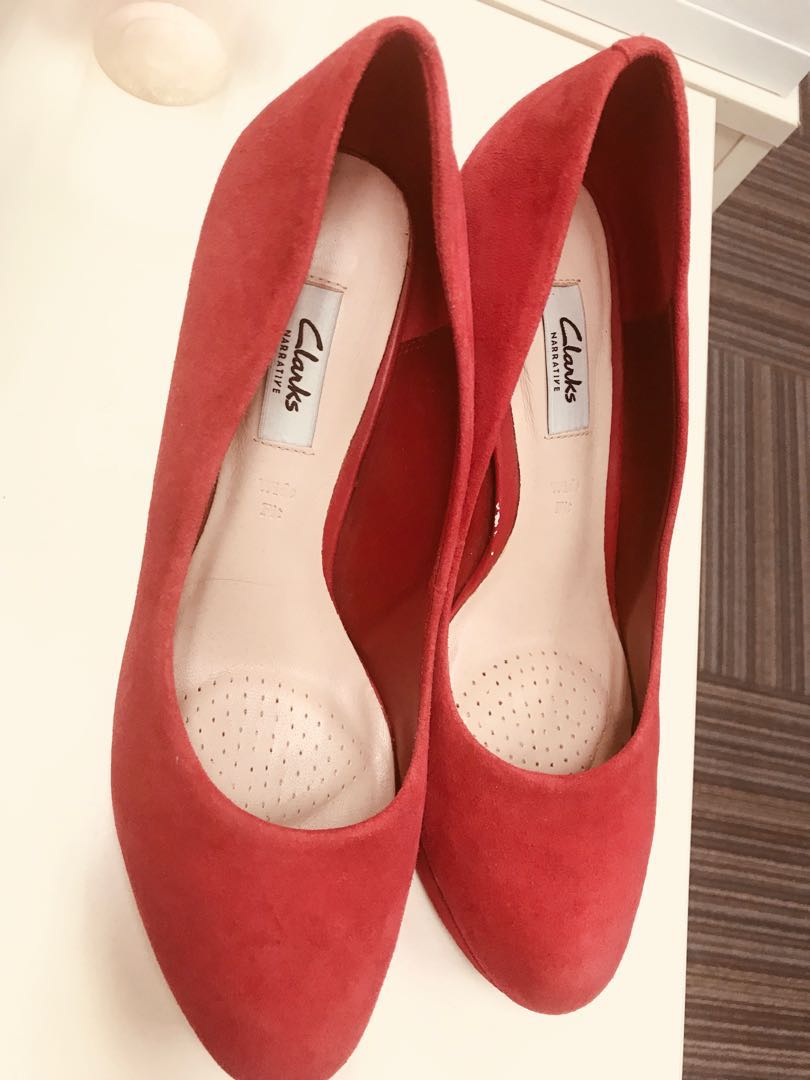 18a63ae098eb Clarks High Heels Red Suede Crisp Kendra Size 40-41 UK7.5 US 10 ...