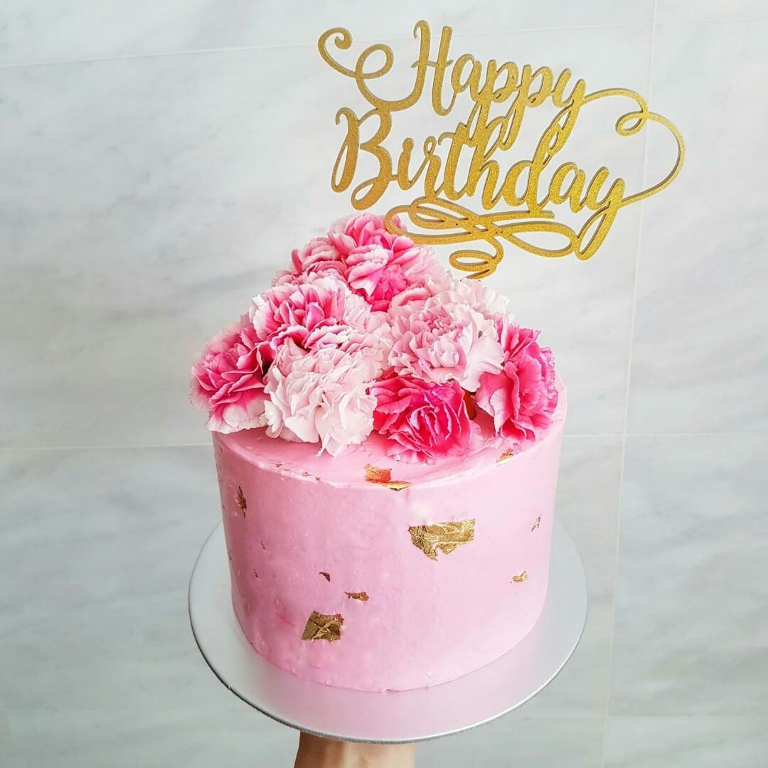 Peachy Floral Birthday Cake Food Drinks Baked Goods On Carousell Funny Birthday Cards Online Hetedamsfinfo