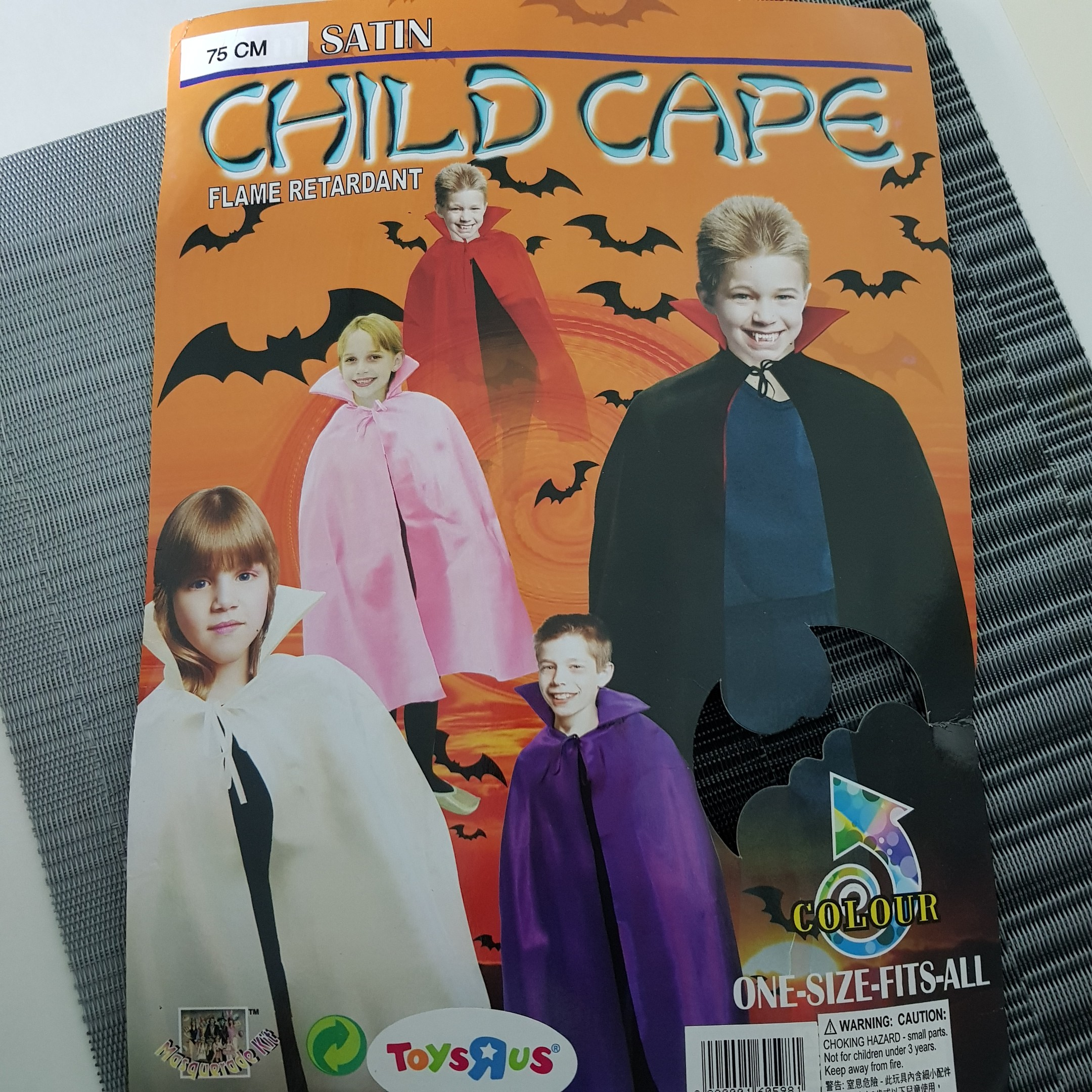 Halloween Child Cape / Costume - 6 to 12years old - devil vampire dracula -  75cm long