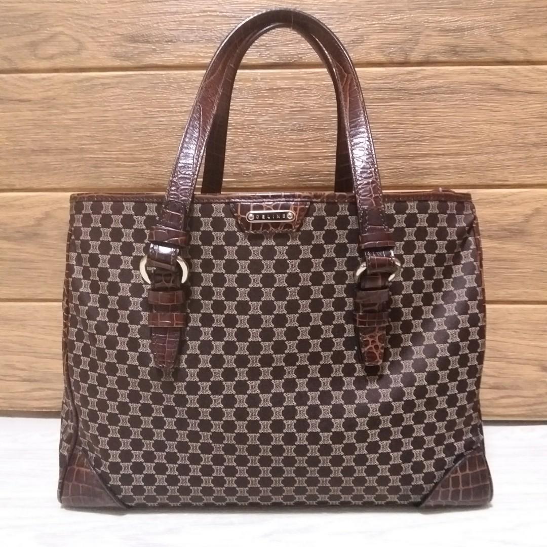 HK🛫Auth Celine brown crocodile style macadam tote bag handbag ... 96ec9f940458a