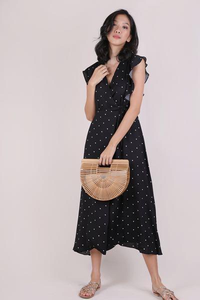 JUDITH WRAP FRONT MAXI DRESS (BLACK POLKA DOTS) XS