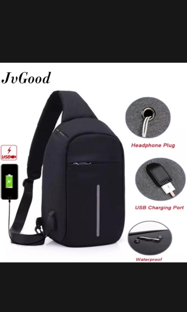 7332c5ad2a JvGood USB Charging Chest Bag Crossbody Bag Anti Theft Sling bag ...