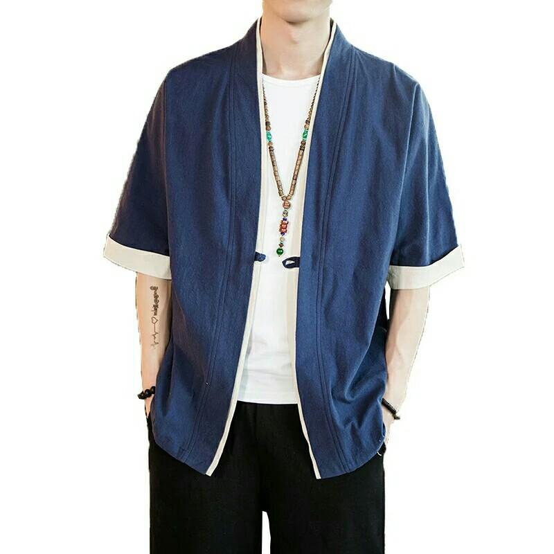Men Cotton Linen Jacket Coat Male Loose Kimono Cardigan
