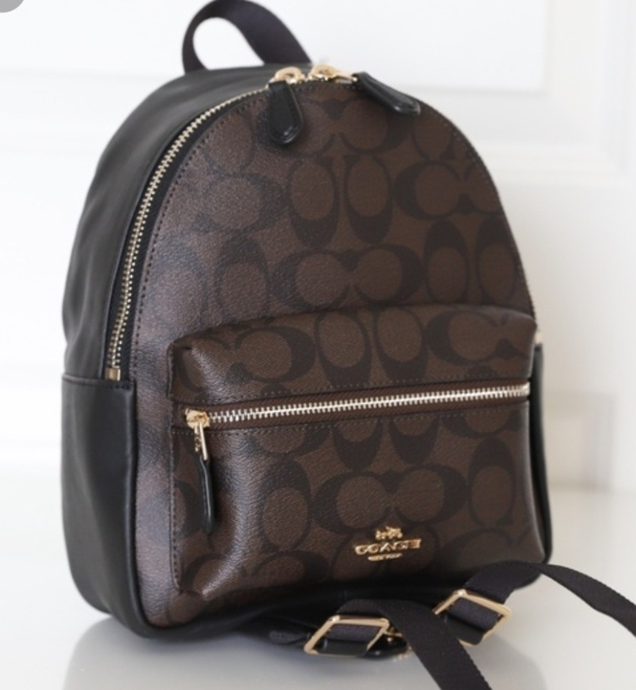 5dba2a1ecab3 NEW COACH (F38315) BROWN MINI CHARLIE SIGNATURE LEATHER BACKPACK ...