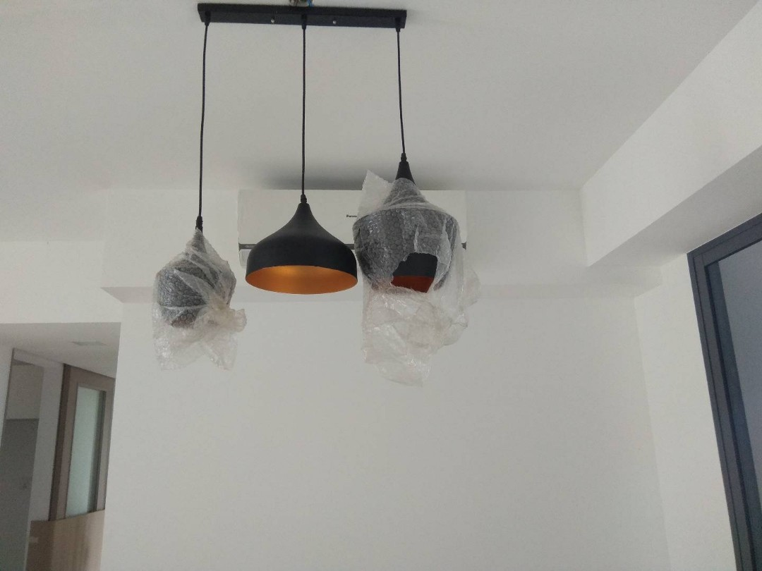 New hanging lights with 3 drop down shades