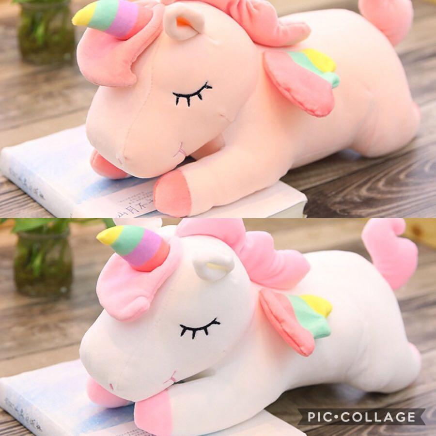d92dbc684eb5 PO: lying down unicorn soft toy, Toys & Games, Stuffed Toys on Carousell