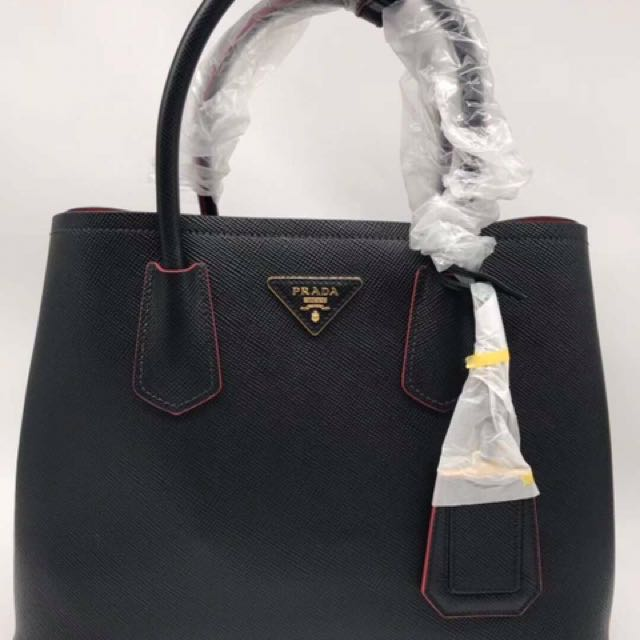 fd8ba5b6783dce Prada Saffiano cui double bag, Women's Fashion, Bags & Wallets ...