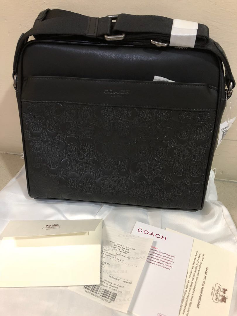 25a44ff26a39b Ready stock (现货) CHARLES CAMERA BAG IN SIGNATURE LEATHER COACH F28455  ANTIQUE NICKEL BLACK