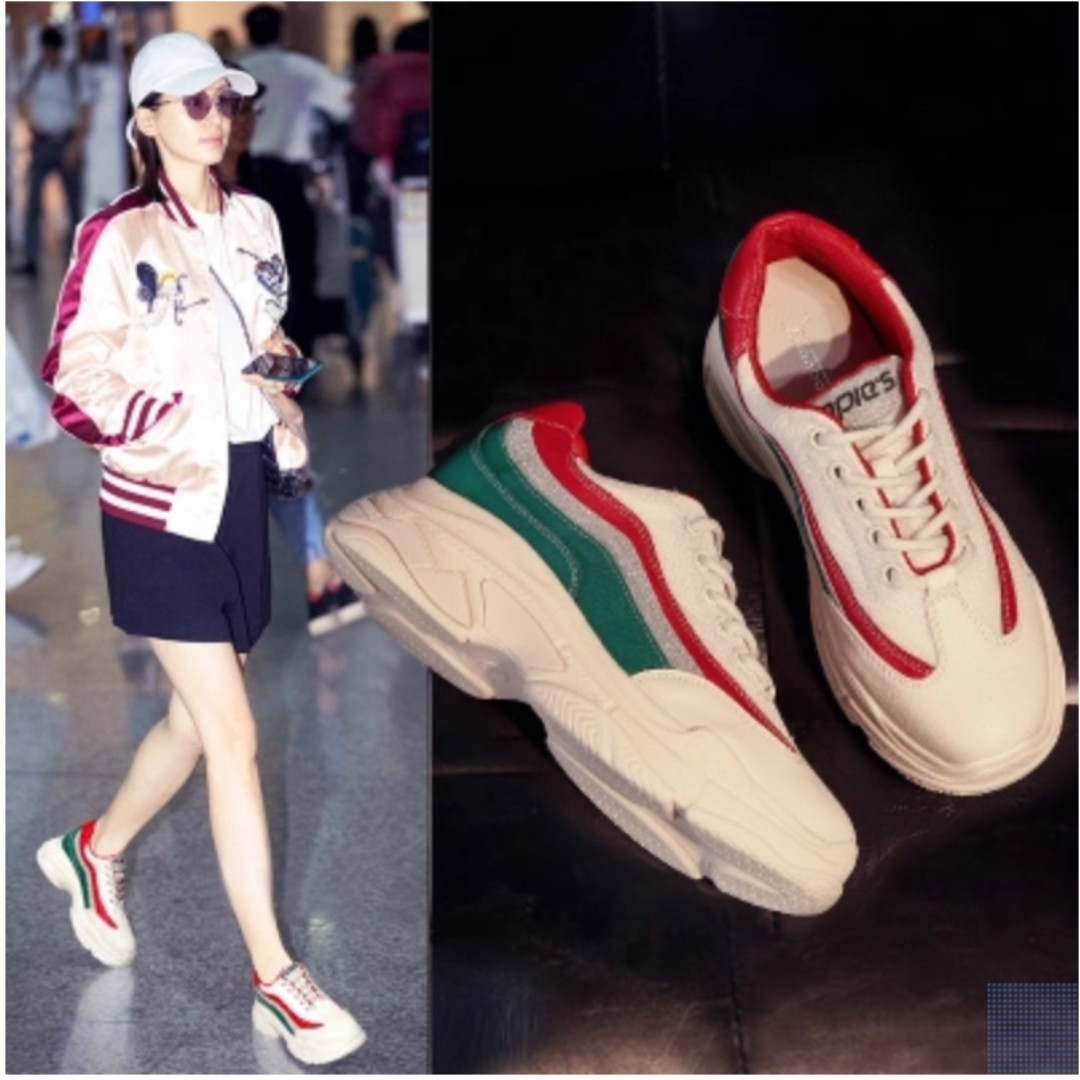7f44b2264 ulzzang white chunky sneakers w red and green, Women's Fashion ...