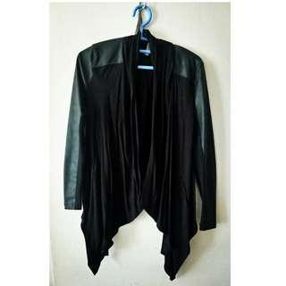 Black leather with cotton mix jacket