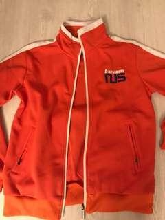 team NUS orange varsity jacket