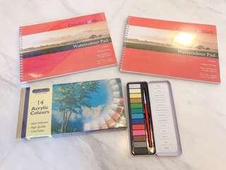 Watercolor / Acrylic color/ watercolor pad