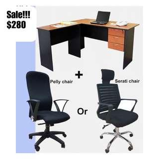 Ergonomic Office Chair and L office desk ♥️