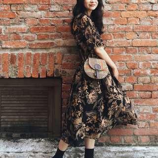 🚚 古著 古著洋裝 印花洋裝 實穿照