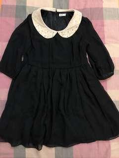 Net 黑色雪紡娃娃領連身裙