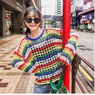 Free Mail - Brand New Ladies Rainbow Knitted Top
