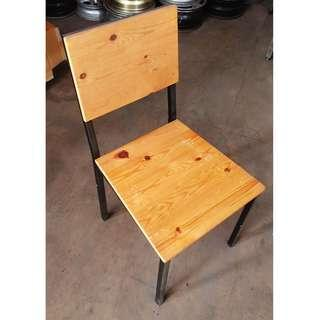 Wooden chair with iron frame