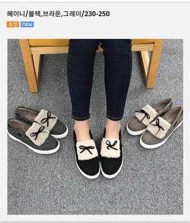 正韓 反折毛毛蝴蝶結便鞋