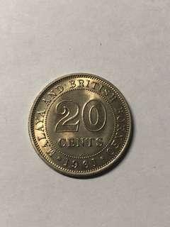 20 Cents 1961 Malaya And British Borneo | Queen Elizabeth The Second