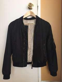 Zara women's black bomber jacket