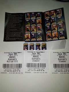 Tesco Avengers stickers 28 pcs + 3 vouchers for stampers and Acton kits discount up  to rm9