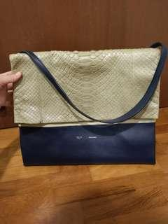 100% real 80% new Celine all soft shoulder bg in python, suede and smooth calf leather