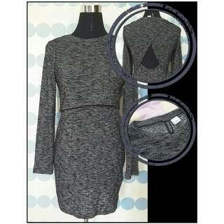 **Repriced** Gray long-sleeve dress with back details