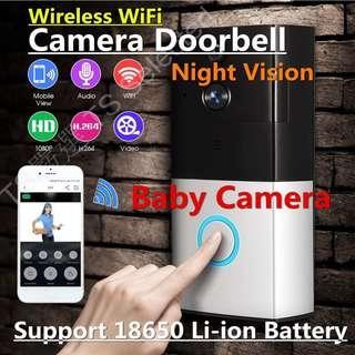 🚚 智慧 無線 18650 WIFI 可視門鈴 鋰電池 寶寶 監視器 網路 手機 遠端 即時 監控 針孔 攝影機 雙向 對講 老人 緊急求救 wireless WIFI video doorbell baby spy camera
