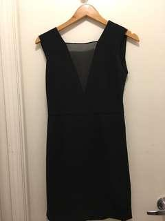 Aritzia Babaton black cocktail dress with open back sz 2