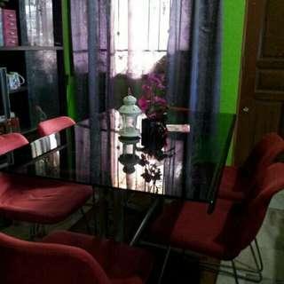 Meja makan 6 kerusi (tempered glass)