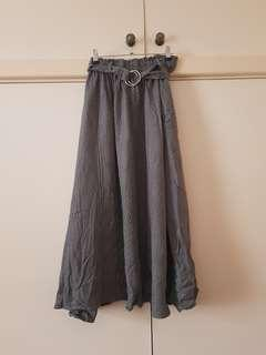 Grey Grid Pattern Belted Maxi Skirt Size 6 (fits up to 8)