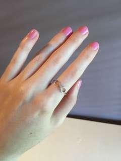Dainty stamped silver infinite ring