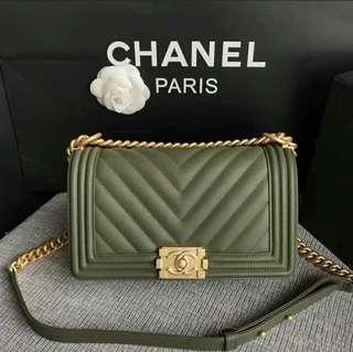 Chanel Medium Chevron Le Boy in Lambskin GHW