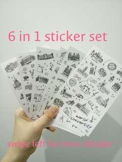 (6 in 1 sticker set) bullet journal sticker made in Korea