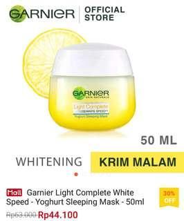 2 jar Garnier Light Complete White Speed Yoghurt Sleeping Mask