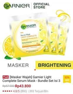 4 pcs Masker Wajah Garnier Light Complete Serum Sheet Mask