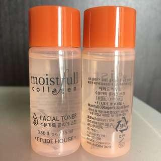 (包郵)全新韓國etude house moistfull collagen爽膚水15ml x 2支
