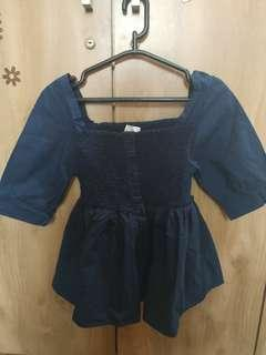Atasan baby doll navy blue