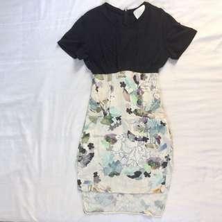 3.1 Phillip Lim silk short sleeve dress black XS / cream pastel floral