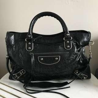 Balenciaga Black Lambskin Metallic Edge City Bag