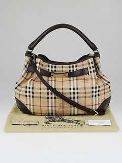 Authentic Burberry Haymarket Check Coated Canvas Willenmore Medium Hobo Bag