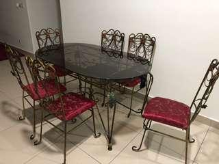 6 seater dining table & crockeries (URGENT)