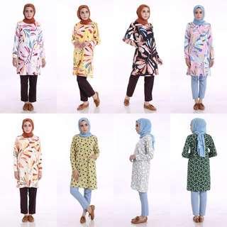 FERA PRINTED TOP 2018 blouse pelum baju kurta kurti ferra instant tudung shawl scarf
