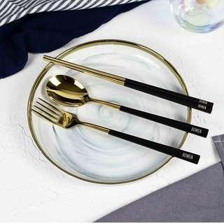 🚚 Personalised Cutlery (Set of 3) - Black & Gold